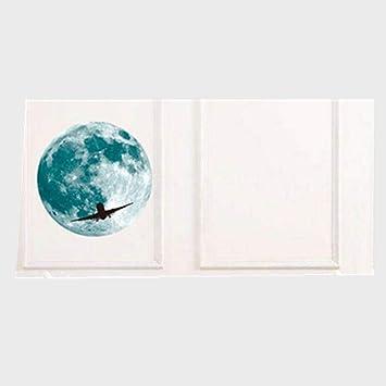 YWLINK 30cm Etiqueta Engomada De La Pared Fluorescente De La Luna Grande 3D Resplandor Desprendible En