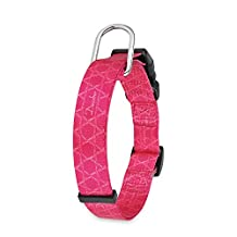 """Dazzber 1"""" Wide Dog Collar [Super Smooth] [Quick Release] Safety Buckle Adjustable Collars for Large Medium Dogs (Rose Red)"""