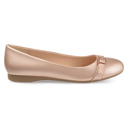 Dettaglio Brinley Co Tessitura Donna In Ecopelle Dettaglio Comfort-suola In Oro Rosa