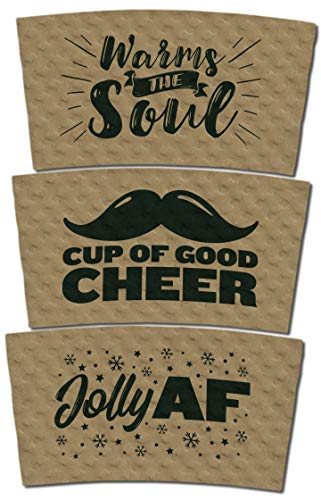 Holiday Coffee Sleeves with Design Variety Pack: Warms The Soul, Jolly AF, Cup of Good Cheer - Kraft Brown with Black Print - Fits Standard Hot Cups (3 Designs, Pack of 60)