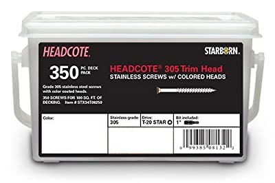 "Headcote #8 x 2-1/2"" - #39 White - Stainless Steel Trim Head Deck Screws - 350 pc. Deck Pack for 100 Sq. Ft. of Decking - STX39T08250"