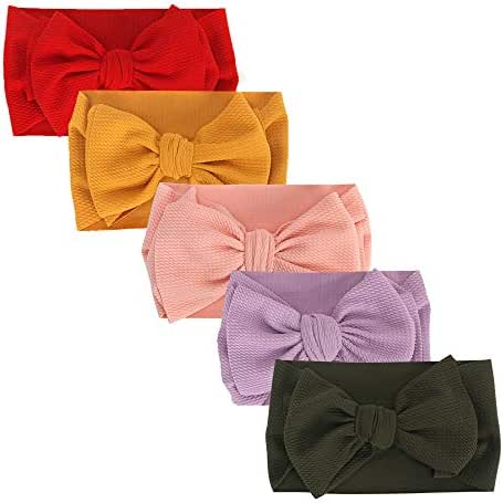 Baby Girl Headbands Turban Knotted, AOKE Head Wraps Hairband and Bows forNewborn Infant Toddler, Child Hair Accessories