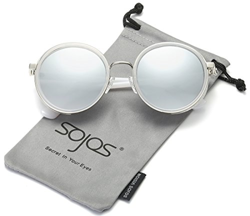 SojoS Vintage Gothic Steampunk Metal and Plastic Combinated Round Frame with Bling Sidecups and Mirror Lens Women Sunglasses SJ2022 (C9 White Frame/Silver Lens, 56) (Zara Woman Sunglasses)