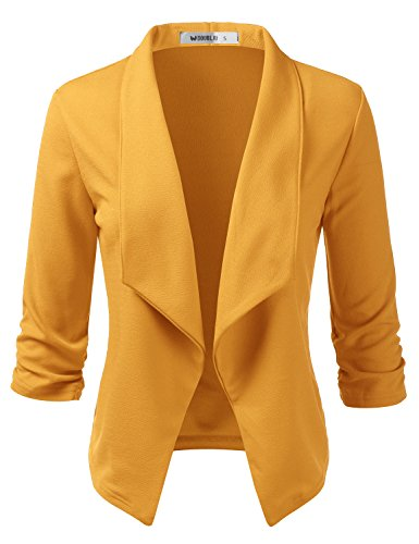 - Doublju Womens Casual Work 3/4 Sleeve Open Front Blazer Jacket with Plus Size Mustard X-Large