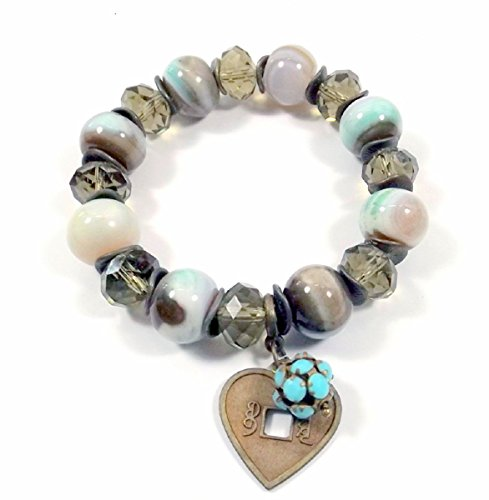 Earth-tone and Aqua with Antique Bronze Bracelet- Heart Charm ()
