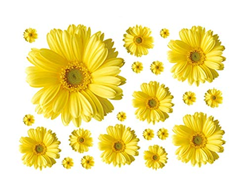 MULLSAN 3D Yellow Daisies Removable Vinyl Mural Wall Decor Sticker for Living Room/Bedroom/Hallway