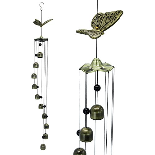 Bronze Bell Garden (Astarin Butterfly Wind Chimes- 33'' Large Copper Wind Chimes 10 Wind Bells, Memorial Sympathy Wind Chime Clear Sounds, Decorative Wind Chimes Garden Home Patio Yard Indoor, Golden)