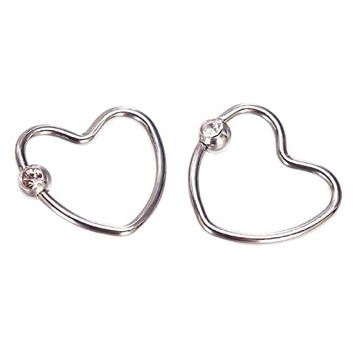 Coolrunner Stainless Steel Unique Little Rhinestone Heart Cartilage Earring 1 Pairs (siliver)