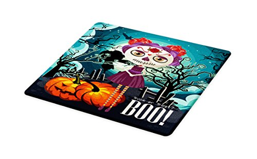 Lunarable Halloween Cutting Board, Cartoon Girl with Sugar Skull Makeup Retro Seasonal Artwork Swirled Trees Boo, Decorative Tempered Glass Cutting and Serving Board, Large Size, Multicolor
