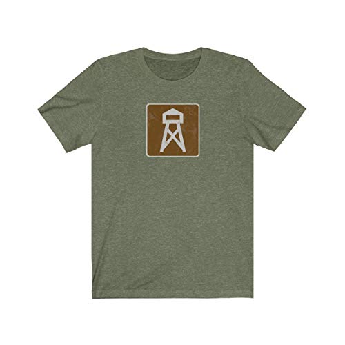 - Campcraft Forest Service Fire Lookout Tower Road Sign Unisex T-Shirt - Wildfire Watch Public Lands Recreation Tee Heather Olive