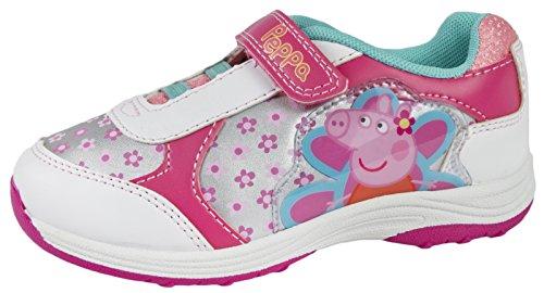 Girls Peppa Pig Pink /& White Trainers Hook /& Loop Girls Children Sizes 4 to 10