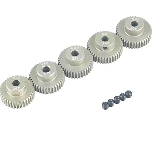 38t Gear (RCRunning 64DP 3.175mm 36T 37T 38T 39T 40T Pinion Motor Gear Set for 1/10 RC Car Motor by)