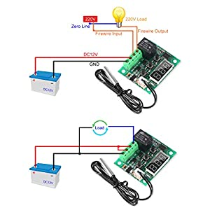 2PCS Temperature Controller Module XH-W1209 Display Digital Thermostat Module -50~110? Electronic Temp Control Module Switch with 10A One-Channel Relay and Waterproof Probe (Color: W1209)