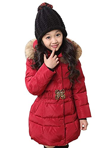 IINFINE Baby Girls Boys Kids Down Jacket Coat Down Feather Winter Warm Children Clothes(Rosy-130CM/51(5-6Y))