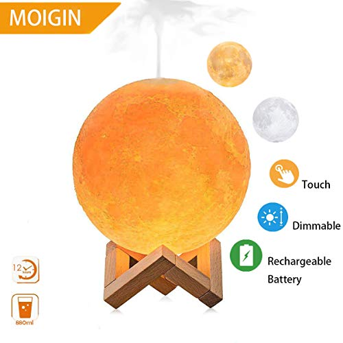 Price comparison product image Upgraded Version Moon Lamp Humidifier,  LED 3D Printing Moon Night Light Mist Humidifier with Stand,  Touch Control and USB Rechargeable Air Humidifiers for Bedroom Living Room Baby (3 Colors)