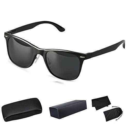 Wayfarer Polarized Sunglasses UV Protection Sports Floating Cycling Leadallway TM (black frame darkgrey - Aviation Sunglasses