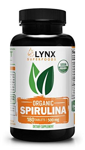 Lynx Superfoods Organic Spirulina Tablets - Highest Quality USDA Organic Spirulina, 100% Vegetarian, Non-Irradiated, 500mg Tablets, 180 Count