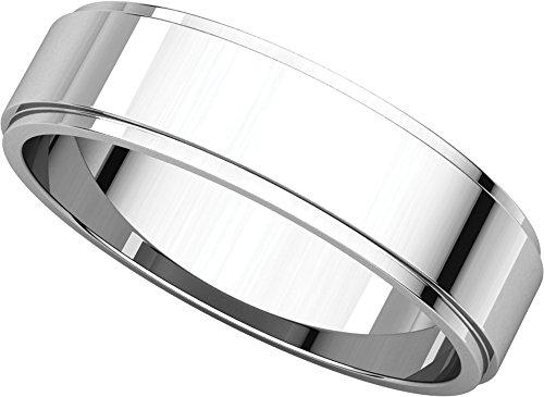 Mens 10K White Gold, Flat Edged Wedding Band 5MM (sz (5mm Edged Band Ring)
