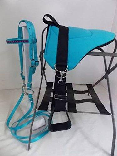Party Ponies Miniature Horse/SM Pony Bareback Saddle PAD Set - Turquoise Purple Aztec