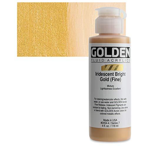 4 Oz Fluid Acrylic Iridescent Color Paints Color: Bright Gold (Fine)