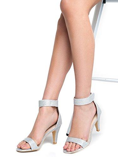 Glitter High Sandal Delicious Silver Ankle Rosela Toe Open Strap Heel UtwfqPzt