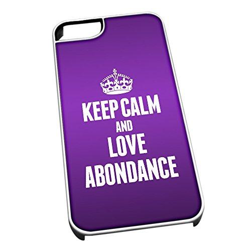 Bianco cover per iPhone 5/5S 0753viola Keep Calm and Love Abondance