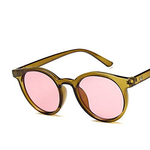 Red blue round Sunglasses Women Fashion Pink Yellow Sun Glasses Vintage Retro Shades,C4 Olive ()