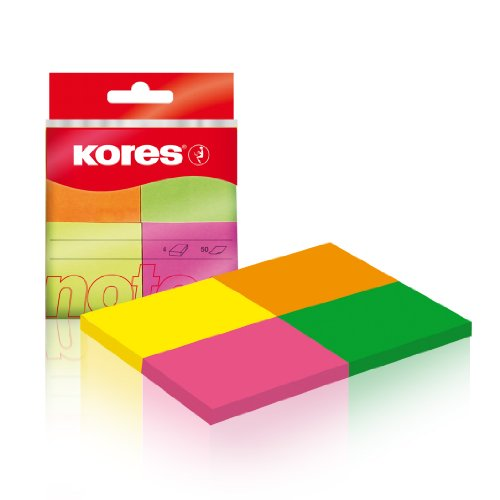 Kores Multicolour Sticky Notes, 4 Neon Colours, 40 x 50 mm, 4 Pads of 50 Sheets