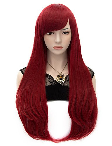 [Wigs have an attractive convenience fashion 70cm Style Natural Straight Fashion Women Party Wigs Heat Resist Synhtetic Cosplay costume Wig Black Magenta Wine] (Hollywood Quality Costumes For Sale)