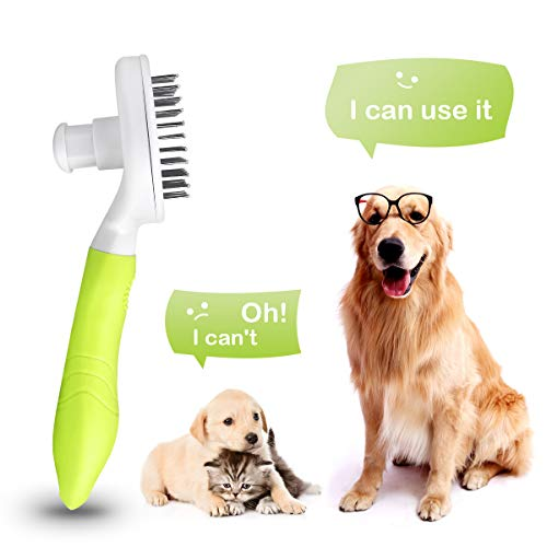 MENNYO Cat Brush, Dog Brush, UPGRADED Self Cleaning Grooming Brushes, Rabbit Slicker Brush, Professional Pet Shedding Comb for Long/Medium/Short Hair - Removes 95% of Dead Undercoat and Loose Hairs