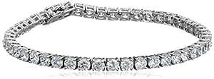 "Platinum Plated Sterling Silver Round Cut 4mm Cubic Zirconia Tennis Bracelet, 7"""