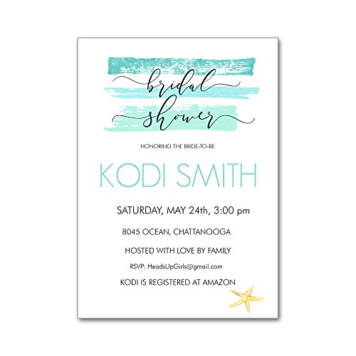 Set of 12 Personalized Bridal Wedding Shower Invitations and Envelopes with Watercolor Aqua Starfish Ocean Beach Travel NVB8045 by Heads Up Girls