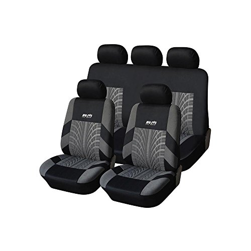 2015 NEW MATERIAL and DESIGN! Adeco [CV0225] 9-Piece Car Vehicle Seat Covers, Universal Fit, Black/Gray Tire Track Decoration (Car Seats Covers For Men compare prices)