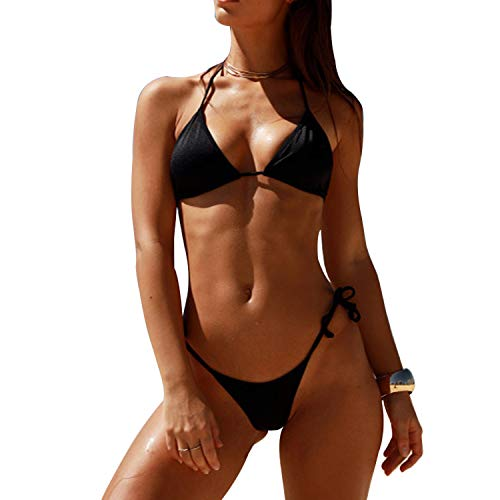 (SHERRYLO 2Pcs Cheecky Women's String Thong Bikini Set Triangle Bikini Top Swimwear,Free Size,Black)