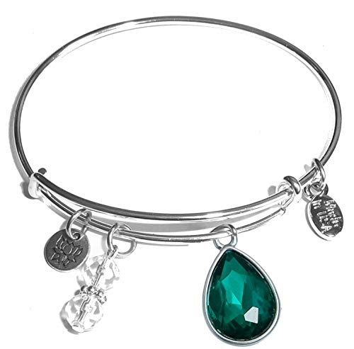 Hidden Hollow Beads Message Charm (84 Options) Expandable Wire Bangle Women's Bracelet, in The Popular Style, Comes in A Gift Box! (Birthstone -