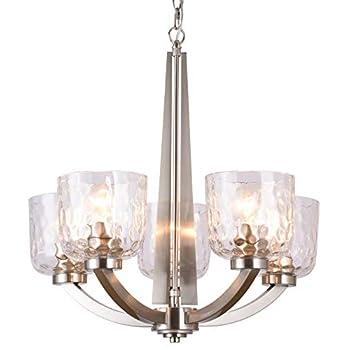 Image of Alice House 22' 5-Light E26 Large Chandelier Brushed Nickel Modern Style Hammered Glass Traditional Hanging Pendant Lighting Fixture for Living Room, Dining Room, Kitchen, Bedroom AL6091-H5
