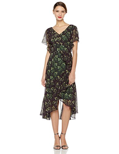 Lined Vintage Wrap (Social Graces Women's Floral Print Faux-Wrap Ruffle High/Low Dress 6 Floral Print)