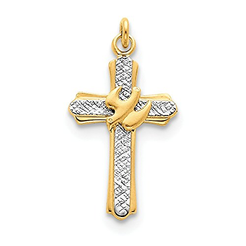 (18k Gold-Flashed and Sterling Silver Solid Textured Polished Engravable Dove Cross Charm)