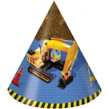 Creative Converting Under Construction Birthday Party Hats, Child Size, 8 Count