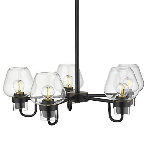 5-Light Pendant Chandelier, Beionxii 21 Inch Industrial Vintage Pendant Lighting Fixture for Kitchen Island Dinning Room Black Finish with Brandy Glass -