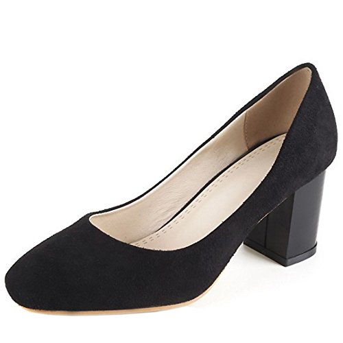 COOLCEPT Mujer Clasico Cerrado Tacon Alto Bombas Zapato Sin Cordones Oficina Vestir Zapatos Negro