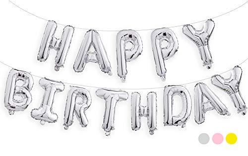 生日快乐气球,40.64 厘米铝箔横幅气球,用于生日派对装饰和用品(银色)