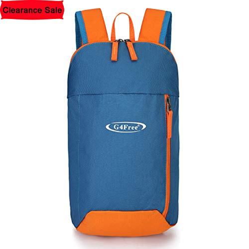 G4Free Outdoor Small Mini Backpack Daypack Bookbags 10L for Kids & Adults(Blue Orange)