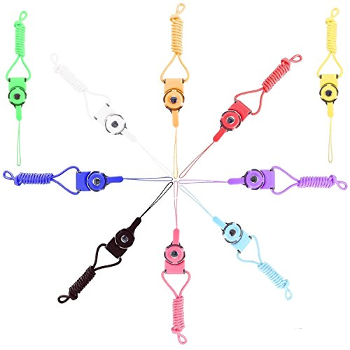 Welity 10 Pcs Pack Detachable Sling Hook Lanyard Necklace Wrist & Neck Strap Keychain Wristlet for Mobile Phone & Office Portable item -Assorted Colors