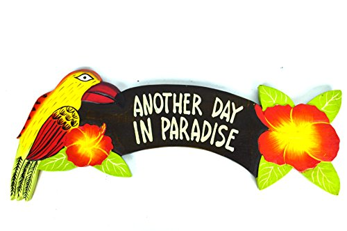 - PARROTS AND FLOWER Hand Carved Wooden ANOTHER DAY IN PARADISE Cocktails Drinking BEACH Surfboard Sign