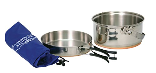 Texsport Stainless Steel Camping Cookware with Copper Bottom