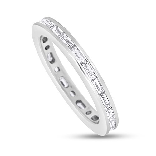 (1.63 CT Natural Diamond Straight Baguettes Eternity Band in Solid 14k White Gold)