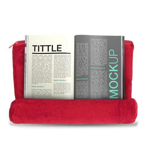 Brownrolly Almohada Universal Soporte para Almohada Tableta Almohada Cojín de Lectura Multi-ángulo Suave para iPad Tablet Teléfono (Red)