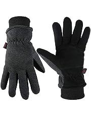 Winter Gloves Deerskin Leather Thermal for Women Men Warm Snug Fit Cuff in Cold Wearher Gray/Black