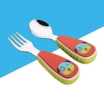 Xing Lin Cubertería Para Niños Alimentación De Bebés Niños Con Cuchara Cuchara De Acero Inoxidable,